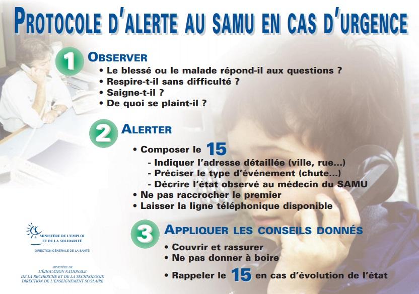 Protocole d'alerte au SAMU en cas d'urgence